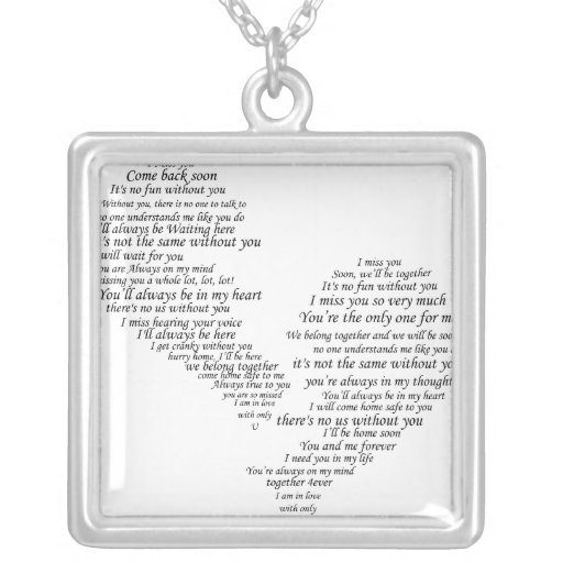 I Miss You - Broken Separated Heart Square Pendant Necklace