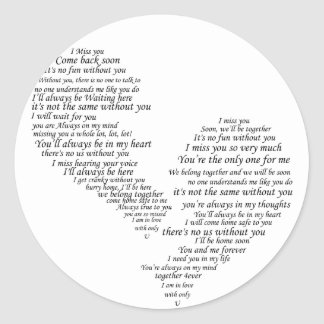 I Miss You - Broken Separated Heart Classic Round Sticker
