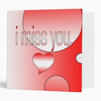 I Miss You! Canada Flag Colors Pop Art 3 Ring Binder