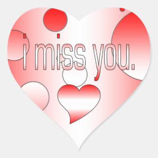 I Miss You! Canada Flag Colors Pop Art Heart Sticker