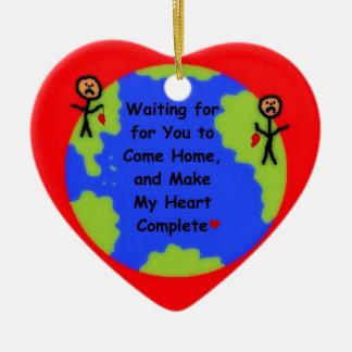 I Miss You Cartoon Double-Sided Heart Ceramic Christmas Ornament