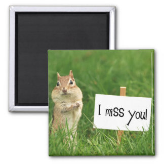I Miss You Chipmunk with Sign 2 Inch Square Magnet