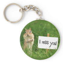 I Miss You Chipmunk with Sign Keychain