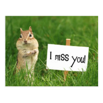I Miss You Chipmunk with Sign Postcard