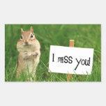 I Miss You Chipmunk with Sign Rectangular Sticker