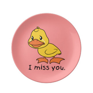 I Miss You Crying Yellow Duckling Duck Apron Plate Porcelain Plates
