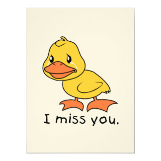 I Miss You Crying Yellow Duckling Duck Card Stamps