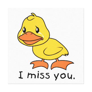 I Miss You Crying Yellow Duckling Duck Card Stamps Canvas Print