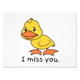 I Miss You Crying Yellow Duckling Duck Card Stamps Photo Print