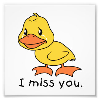 I Miss You Crying Yellow Duckling Duck Card Stamps Photo Art