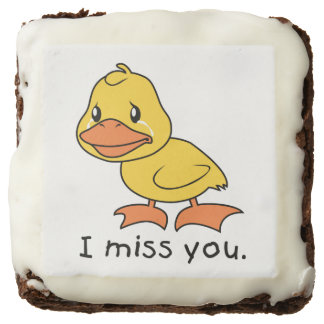 I Miss You Crying Yellow Duckling Duck Chocolate Brownie