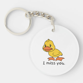 I Miss You Crying Yellow Duckling Duck Mug Hat Acrylic Key Chain