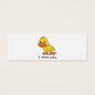 I Miss You Crying Yellow Duckling Duck Mug Hat Mini Business Card