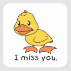 I Miss You Crying Yellow Duckling Duck Mug Hat Square Sticker