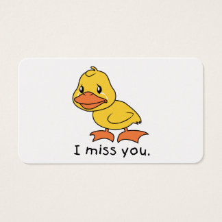 I Miss You Crying Yellow Duckling Duck Mug Wrapper Business Card