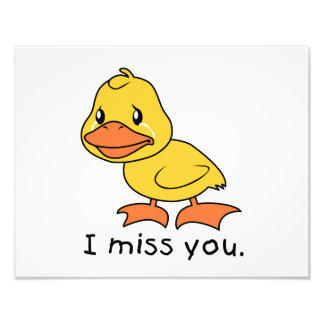 I Miss You Crying Yellow Duckling Duck Mug Wrapper Photo Print