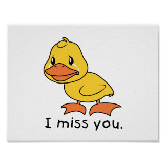 I Miss You Crying Yellow Duckling Duck Mug Wrapper Posters