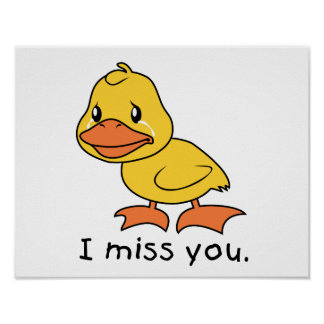 I Miss You Crying Yellow Duckling Duck Mug Wrapper Poster
