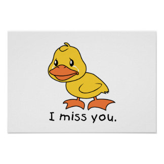 I Miss You Crying Yellow Duckling Duck Mug Wrapper Print