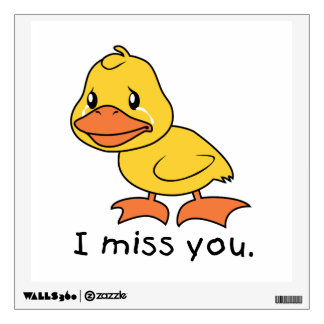 I Miss You Crying Yellow Duckling Duck Mug Wrapper Wall Decal