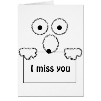 I miss you cute cartoon customizable card