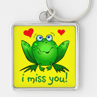 I Miss You Cute Frog Hearts Keychain