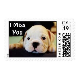 """I Miss You"" English Bulldog Puppy Stamp"