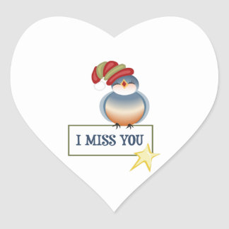 I MISS YOU GIFT TAG HEART STICKER