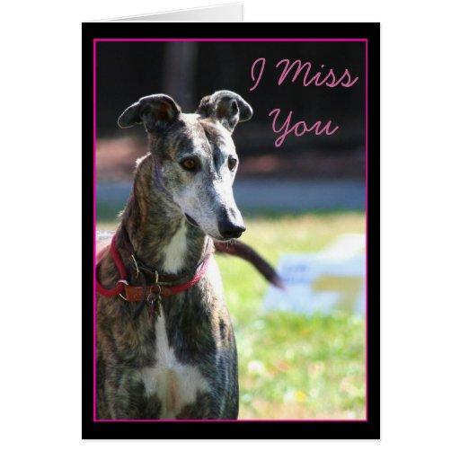 I Miss You Greyhound greeting Card
