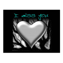I Miss You Heart Postcard