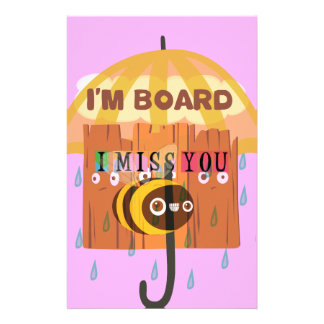 I Miss You in the rain I am bored Stationery