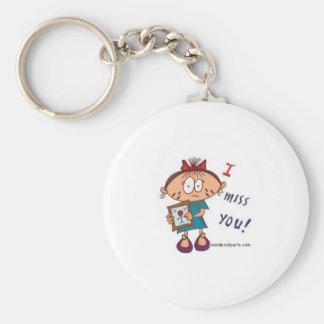 i miss you basic round button keychain