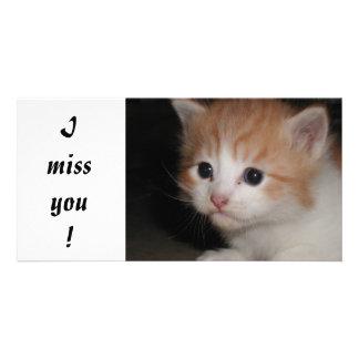 I Miss You kitty photo card