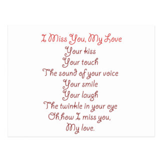 I Miss You, My Love Poem Red on Red Postcard