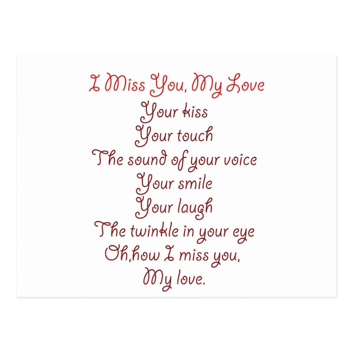 I Miss You, My Love Poem Red on Red Postcard | Zazzle