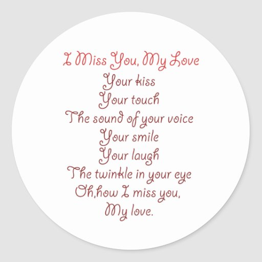 I Miss You, My Love Poem Red on Red Classic Round Sticker