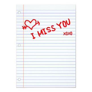 i miss you : notebook paper card