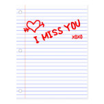i miss you : notebook paper post cards