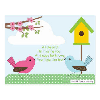 I Miss You Poem from a Boy: Birdhouse and 2 Birds Postcard