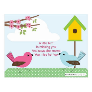 I Miss You Poem from a Girl: Birdhouse and 2 Birds Postcard