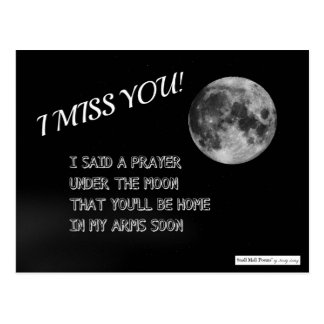 I Miss You Poem: Prayer Under the Moon Postcard