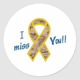 I MISS YOU RIBBON ROUND STICKERS