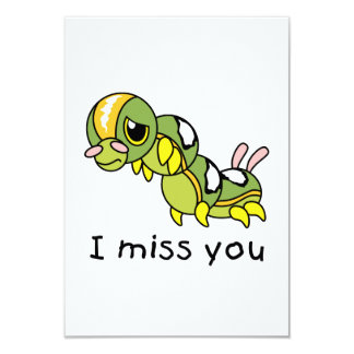 I Miss You Sad Lonely Crying Weeping Caterpillar 3.5x5 Paper Invitation Card