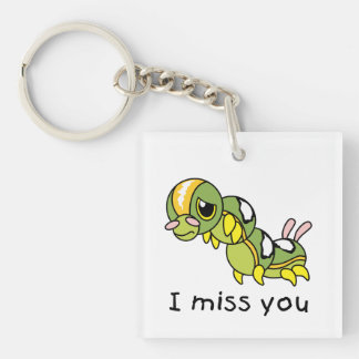 I Miss You Sad Lonely Crying Weeping Caterpillar Acrylic Key Chain