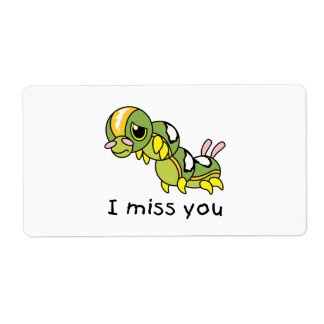 I Miss You Sad Lonely Crying Weeping Caterpillar Label