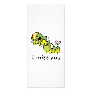 I Miss You Sad Lonely Crying Weeping Caterpillar Rack Card