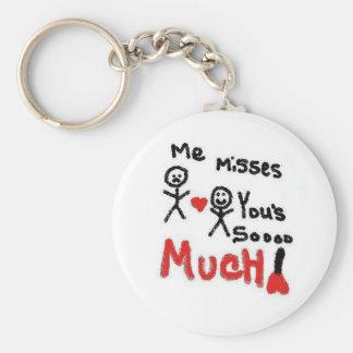 I Miss You So Much Cartoon Keychain