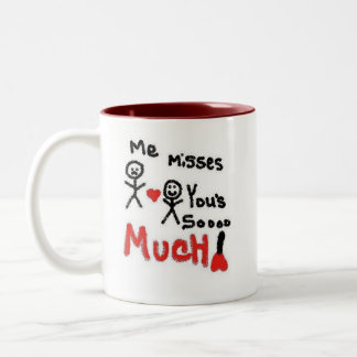 I Miss You So Much Cartoon Two-Tone Coffee Mug