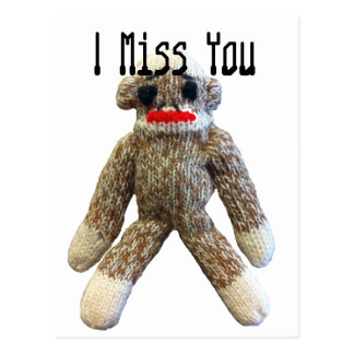 I Miss You Sock Monkey Postcard