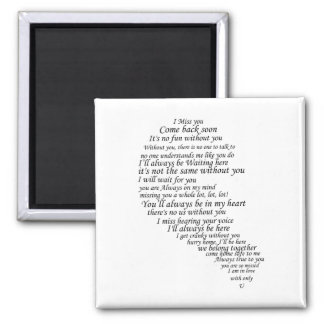 I Miss You  Text in Half of Heart 2 Inch Square Magnet